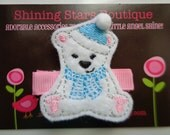 Hair Accessories - Felt Hair Clip - White, Blue, And Pink Winter Polar Bear With A Hat And Scarf Embroidered Boutique Felt Hair Clippie