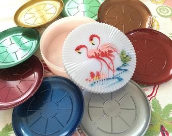 Vintage Florida coasters Miami Beach trinket box pink flamingos hand painted set of 8 Floridiana souvenir kitsch plastic