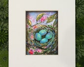 Spring Robin Eggs ACEO Original Painting - Collectable Gift - Easter - FREE Shipping