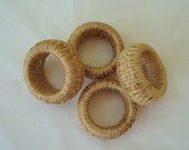 Napkin Rings, Set of 4 Stylish Woven Wicker Round Napkin Rings, Blonde, Blond, Natural, Made in Philippines, Weave, Beach Decor, Summer