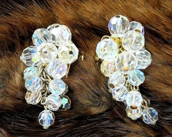 Crystal Waterfall Earrings with Aurora Borealis Crystals - Vintage