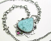Large Turquoise Teardrop Sterling Silver Oxidized Necklace - Boho Turquoise Necklace - Gemstone Lotus Zen Silver Antiqued Necklace - N-004