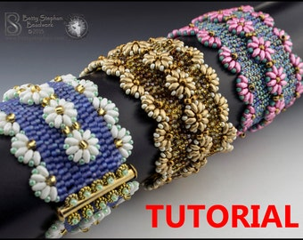 Lazy Daisy Beadwoven Bracelet- PDF tutorial instant download