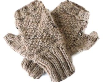 Mittens - Hand Knit Oyster Tweed Fingerless Mittens