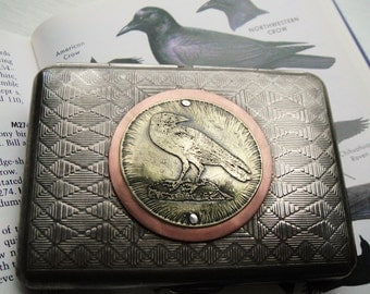 Crow Etched Wallet / Cigarette Case in Tribal Pattern-- Acid Bath Series