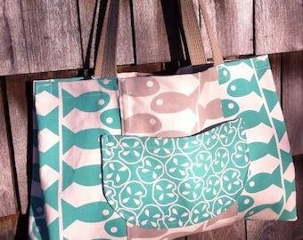 Fish Sandollars Turquoise Taupe Canvas Bag