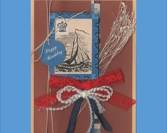 Birthday Sailing Ship and Tailgating at Soccer--  Masculine Cards for men -- Free Shipping in USA