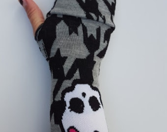 Grey and black Monster High gloves fingerless mittens/ arm warmers, winter fashion, keyboarding gloves
