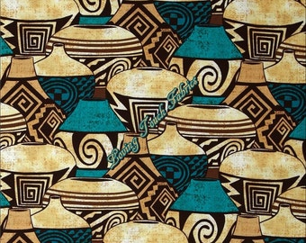 "Michael Miller / Painted Dessert / ""Pueblo Pottery"" CX6650-Turq-D Sante Fe Southwest Fabric Priced Per 1/2 Yd. (18"" x 44"")"