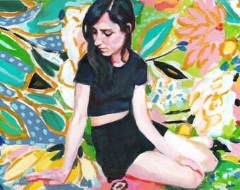 Madlen - Original Surreal Painting-  acrylic painting- Bouquet of flowers  -Folk art painting -woman Dream Imagination original art