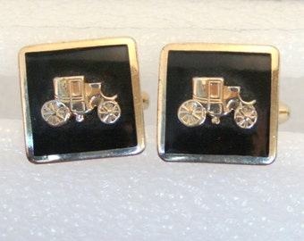 Vintage Model T Car Cuff Links Vintage 1950s Black and Gold Cufflinks Mens Accessory
