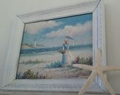 Original Painting on Canvas Victorian Woman on the Beach, Lighthouse, Seagulls Painting, Beach Cottage Chic