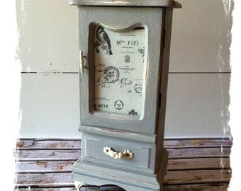 Vintage Wood Jewelry Box Painted in Annie Sloan, Paris Grey Chalk Paint with French Images