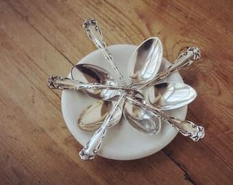 Antique Demitasse Spoons, Reed & Barton Rex Pattern c1800's, Wedding Gift Silver