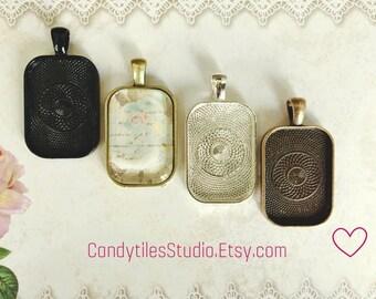 25pk...20x30mm Pendant Trays...with Glass Inserts, rectangle pendants, bezel, Mix and Match