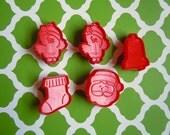5 Mini Hallmark Christmas Cookie Cutters Imprint Fondant Cookie Cutter Santa Claus Bell Stocking Bird