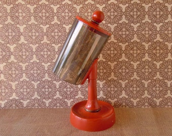 Vintage Retro 1970s Orange Rust Burnt Orange Paper Cup Dispenser Holder Storage