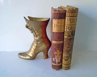 Vintage Brass Victorian Boot Figurine Statue Bookend | Home Decor