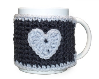 Grey Mug Cozy, Coffee Cup Cozy, Crocheted Coffee Cup Cozy, Gray Mug Cozy, Tea Mug Cozy, Coffee Mug Wrap, Coffee Lover Gift, CHOICE of HEART
