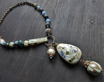 Lacustrine- Folk art assemblage necklace -rustic mixed media artisan jewelry