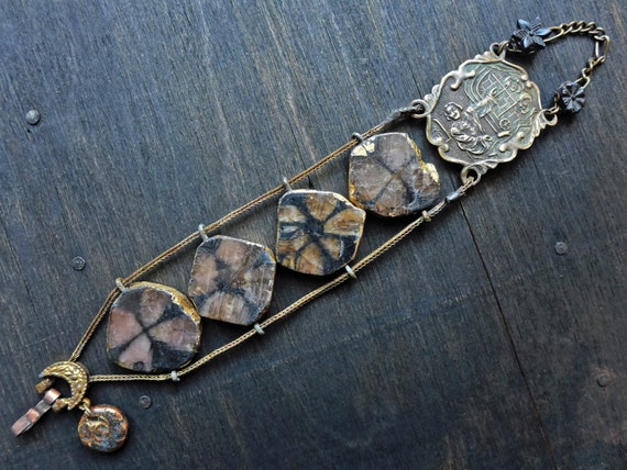 Natural Philosophy. Rustic brown Victorian tribal artisan assemblage bracelet with chiastolite gemstones.