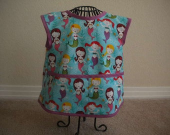 Adorable Toddler Mermaid Art Smock or Apron with Orchid Bias Trim. Size 3t-4t.