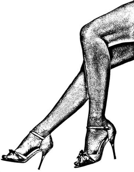 ladies legs black high heel shoes black and white art