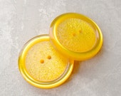 GiANT PAiR Vintage Buttons 42mm - 1 5/8 inch Buttercup Yellow Etched Plastic Button Glows - 2 VTG NOS Thick Luminescent Sewing Buttons PL062