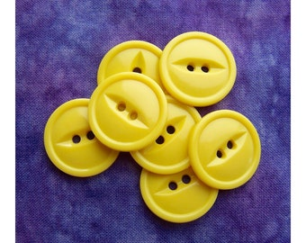Yellow Fisheye Buttons, 22mm 7/8 inch - Daffodil Yellow Fish Eye Sewing Buttons - 7 VTG NOS Buttercup Yellow Plastic Sew Thru Buttons PL165