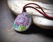 Boho Chic Antique Ming/Qing Dynasty Pottery Shard on Suede Cord - Rustic Jewelry - Boho Chic - Yoga Jewelry - Red, Pink, Green