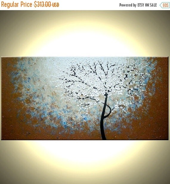 "Original Abstract Tree Painting, TEXTURED Cherry Blossom Flowers, Abstract Metallic WHITE Impasto FLORAL, 48x24"" Lafferty"