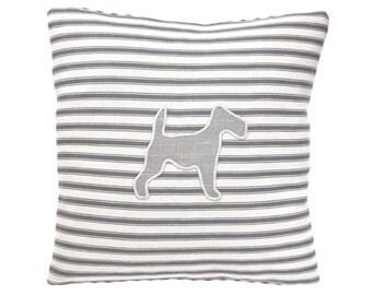 Terrier Applique Cushion - Grey Ticking