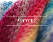 easy crochet blanket pattern, afghan, rainbow Granny Stripe Blanket