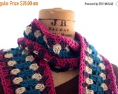 Winter Clearance Granny Square scarf, colorful scarf, womans scarf