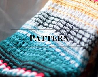 crochet blanket pattern, afghan, multicolor Serape Stripe Blanket