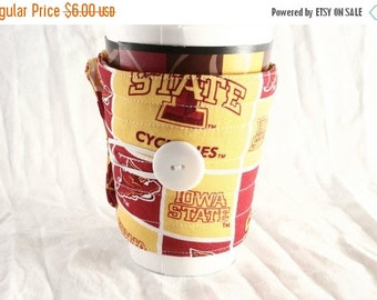 Winter Clearance Iowa State coffee cozy, team, Cyclones coffee cup cozy, Handmade quilted reusable fabric coffee cup sleeve