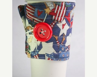 Winter Clearance Coffee Cup Sleeve, Coffee Cup Cozy, cup cozy,  fabric, quilted: red and blue Patriotic angels