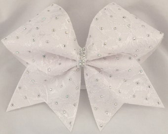 Cheerleader White Lace with Scattered Rhinestone Bling Cheer Hair Bow