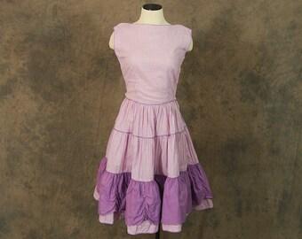 vintage 50s Dress - 1950s Purple Gingham Day Dress Square Dance Dress Sz S