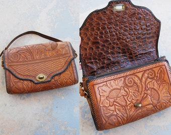 vintage 40s Tooled Leather Purse - 1940s Alligator Lined Floral Tooled Leather Western Purse