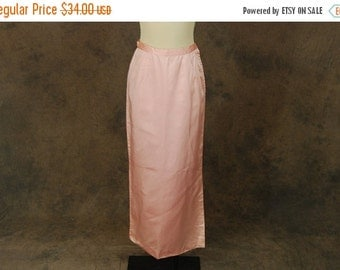 48 Hr SALE vintage 60s Maxi Skirt - 1960s Pink Satin Floor Length Pencil Skirt Sz S