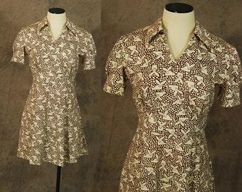 vintage 60s Mini Dress - 1960s Mod Rabbit Bunny Novelty Print Dress Sz S M
