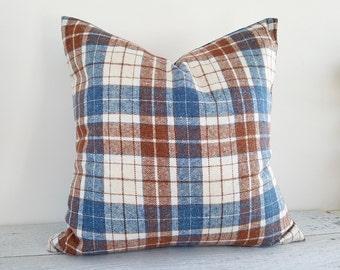 Rustic Pillows, Cream Blue Plaid Pillow Cover, Blue Brown Plaid Pillow, Wool Throw Pillows, Lodge Home Decor, 18x18, Lodge Pillows