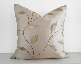 Elegant Cream Pillows, Embroidered Leaves Pillow, Metallic Gold Copper, Neutral Throw Pillows, Contemporary Cushion Covers, 18x18, 14x20 NEW
