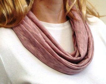 Pink Heather Jersey Knit Infinity Scarf - Circle Scarf - Loop Scarf - Forever Scarf - Handmade in Rhode Island