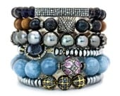 Iolite Diamond Bar Bracelet, Diamond Pave Stacking Bracelet AS SEEN in VOGUE Magazine, Bohochic Statement Bracelet, Luxury Boho Jewelry