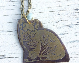 Etched Brass Cat Pendant Necklace Cat Lover Kitty
