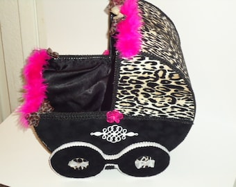 Velvet Cheetah and Black hot pink baby carriage centerpiece