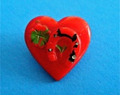 Vintage Red Glass Heart Button Raised Horseshoe 4 Leaf Clover some Paint Worn Off