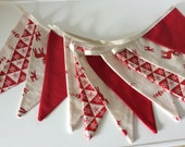 Christmas Bunting Scandi Style - New for 2015, 12 flag Fabric Garland Banner - 8.5ft long